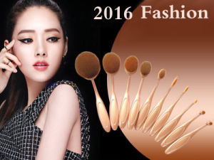 10PCS Rose Gold Toothbrush Oval Shape Makeup Brushes pictures & photos