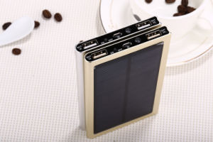 Good Quality 8000mAh Slim Metal Solar Power Bank with LED Light pictures & photos
