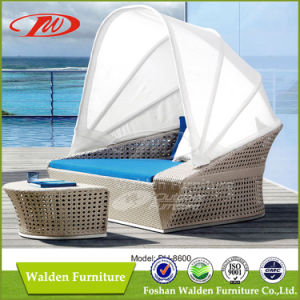 Outdoor Sun Bed Rattan Sun Lounger with Canopy (DH-8600) pictures & photos