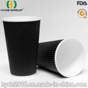 Kraft Ripple Wall Disposable Paper Cup with Lid pictures & photos