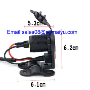 12-24V Dual USB Charge Socket with Switch for Car Motorcycle Motorbike pictures & photos