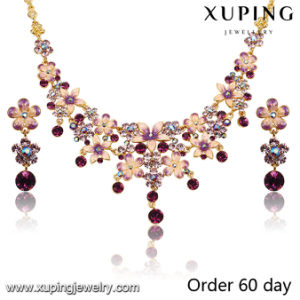 Fashion Luxury 18k Gold-Plated Imitation Flower Jewelry Set with Rhinestone (S-7) pictures & photos