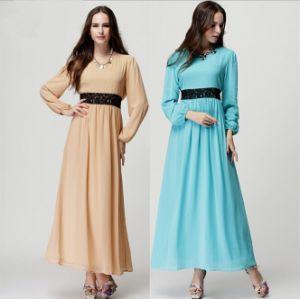 D1162 Summer Long Sleeve Pearl Chiffon Muslim Dress Fashion Wear Abaya Retail pictures & photos
