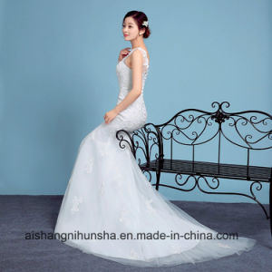 Elegant Mermaid Wedding Dress Sleeveless Robe with Lace pictures & photos