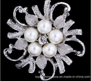 Silver Rhinestone Crystal Brooch Wedding Bridal Flower Pearl Brooch (TB-002 flower pearl) pictures & photos