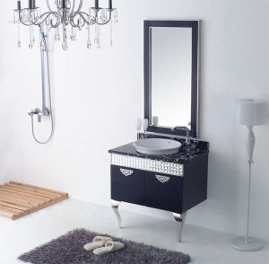 Bathroom Cabinet New Fashion Embossment Cabinet Design Bathroom Vanity Bathroom Furniture Bathroom Mirrored Cabinet (YB-817)