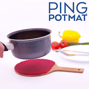 Heat Resistant Ping Pong Bat Shaped Silicone Hot Pot Mat pictures & photos