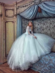 Long Sleeves Bridal Ball Gowns Lace Tulle Puffy Corina Wedding Dress Gv20173 pictures & photos