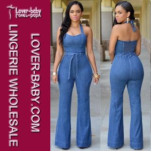 Lady Halter Sexy Denim Jeans Jumpsuit (L55177) pictures & photos