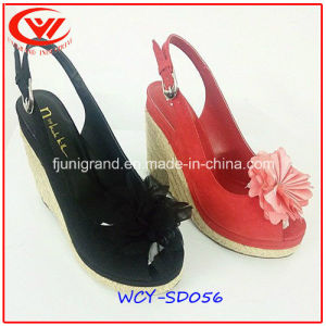 High Slope Heel Genuine Leather Sandals for Women pictures & photos