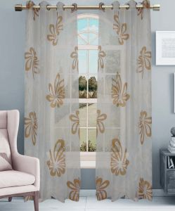 Printed Voile Grommet Panel Window Curtain (HR14WT057) pictures & photos