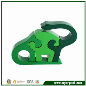 Lovely Green Dinosaur-Shaped Wooden 3D Puzzle for Kids pictures & photos