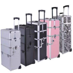 Aluminum Rolling Makeup Cosmetic Train Case for Sale (HX-A0732) pictures & photos