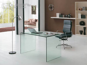 Hot Sale Modern Office Desk with Clear Glass Top pictures & photos