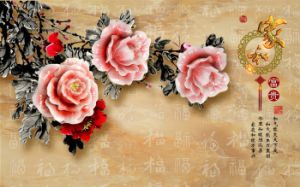 Imitative Relief Sculpture The Golden Peony UV Printed on Ceramic Tile Model No.: CZ-007 pictures & photos