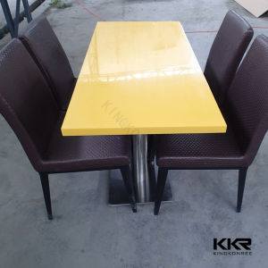 4 Seaters Artificial Stone Restaurant Dining Table and Chair pictures & photos