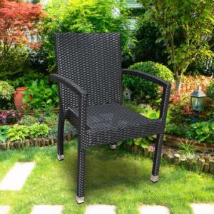 Patio Outdoor Metal Aluminum Arm Chair with Flat Wicker for Dining Table (J5491) pictures & photos