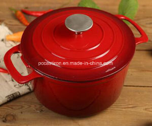 Dia: 22cm 2.5L Enamel Cast Iron Casserole Pot From China Facotry OEM pictures & photos