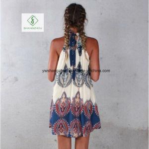 2017 Fashion European Loose Printed Sleeveless Sexy Maxi Women Dress pictures & photos