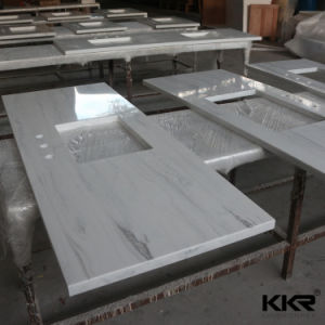 Artificial Marble Veining Pattern Solid Surface Bathroom Vanity Top pictures & photos