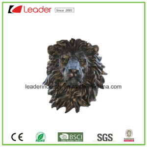 Hand-Painted Resin Lion Head Mount Wall Statue with Antique Copper Color for Home and Balcony Decoration pictures & photos