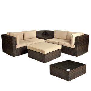 Rattan Aluminum Patio Garden Furniture Brown Cushion Wicker Corner Sofa Set pictures & photos