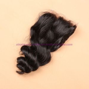 "8A Virgin Peruvian Loose Wave Silk Base Closure Natural Black Bleached Knots Middle/Free/3 Way Part 4X4"" Silk Top Closure pictures & photos"