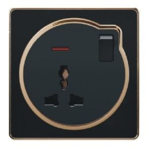 British Black Golden-Framed 13A Multi-Functional Switched Wall Socket with Neon pictures & photos