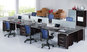 Wooden Office Computer Table 6 Person Workstation for Project pictures & photos