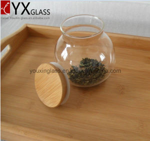 500ml Hot-Sale Borosilicate High Quality Glass Sealed Cans Collection Storage Tank Large Moss Bottle Glass Jar with Wood Lid Hermetic Pot pictures & photos
