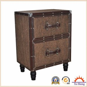 2 Drawer Linen Tufted Wooden Cabinet for Living Room pictures & photos