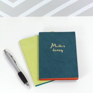 A6 Paper Sewing Thread PU Leather Notebook pictures & photos