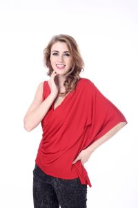 Women′s Crazy Red V Neck Sleeveless Blouse Design Goddess of Love Top pictures & photos