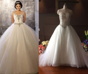 Crystal Bodice Ball Gown Wedding Dress pictures & photos