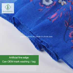 Nice-Looking 100% Viscose Polyester Floral Printed Shawl Salable Square Scarf pictures & photos