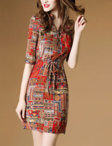Women Floral Print V Neck Knee Length Dress (A119) pictures & photos