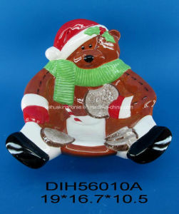 Hand-Painted Ceramic Bear Candy Bowl for Christmas Decoration pictures & photos