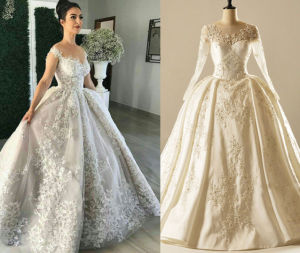 UAE Long Sleeve Ball Gown Wedding Dress pictures & photos