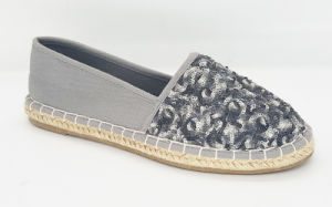 Women′s Casual Sequins & Canvas Flat Espadrille Shoes
