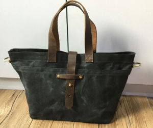 Custom High Quality Waxed Canvas Tote Bag with Leather Straps pictures & photos