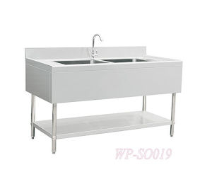 Stainless Steel Double Sinks with Left and Right Flat Board pictures & photos