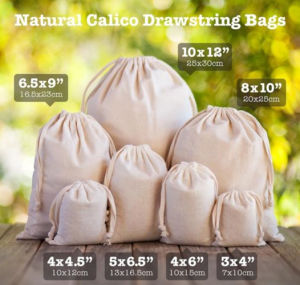 Cotton Calico Pouch Favor Carry Bag Drawstring Natural Fabric Material