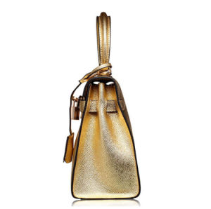 2017 Fashion Design Champagne Color Leather Women′s Tote Bag pictures & photos