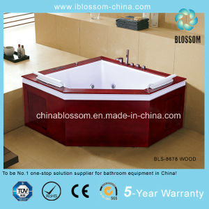 Corner Diamond Wooden Whirpool Bathtub Massage Bath Tub (BLS-8678 WOOD) pictures & photos