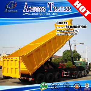 3 Axis Rear/Side Dump Semi Trailer with Hydraulic Jack pictures & photos