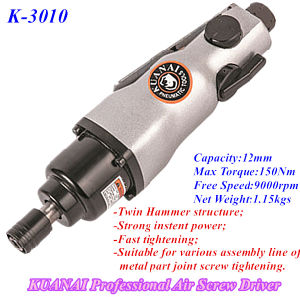 Industrial Straight Type Twin Hammer Structure Air Screw Driver K-3010