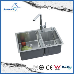 Handmade Double Drainer Bowl Round Kitchen Sink (ACS7243A2) pictures & photos