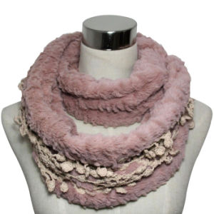 Fashion Faux Fur Infinity Scarf with Lace Decoration (YKY4368) pictures & photos
