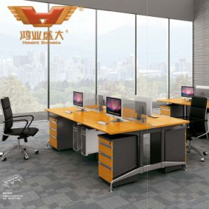 Modern Straight 4 Seats Office Furniture Cluster Staff Combination Partition Workstation with Cross Design Cubicle Metal Legs (H50-0206) pictures & photos