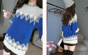 Geometric Pattern Pullover 2015 Winter Models Thick Loose Long Sweater (BTQ104) pictures & photos